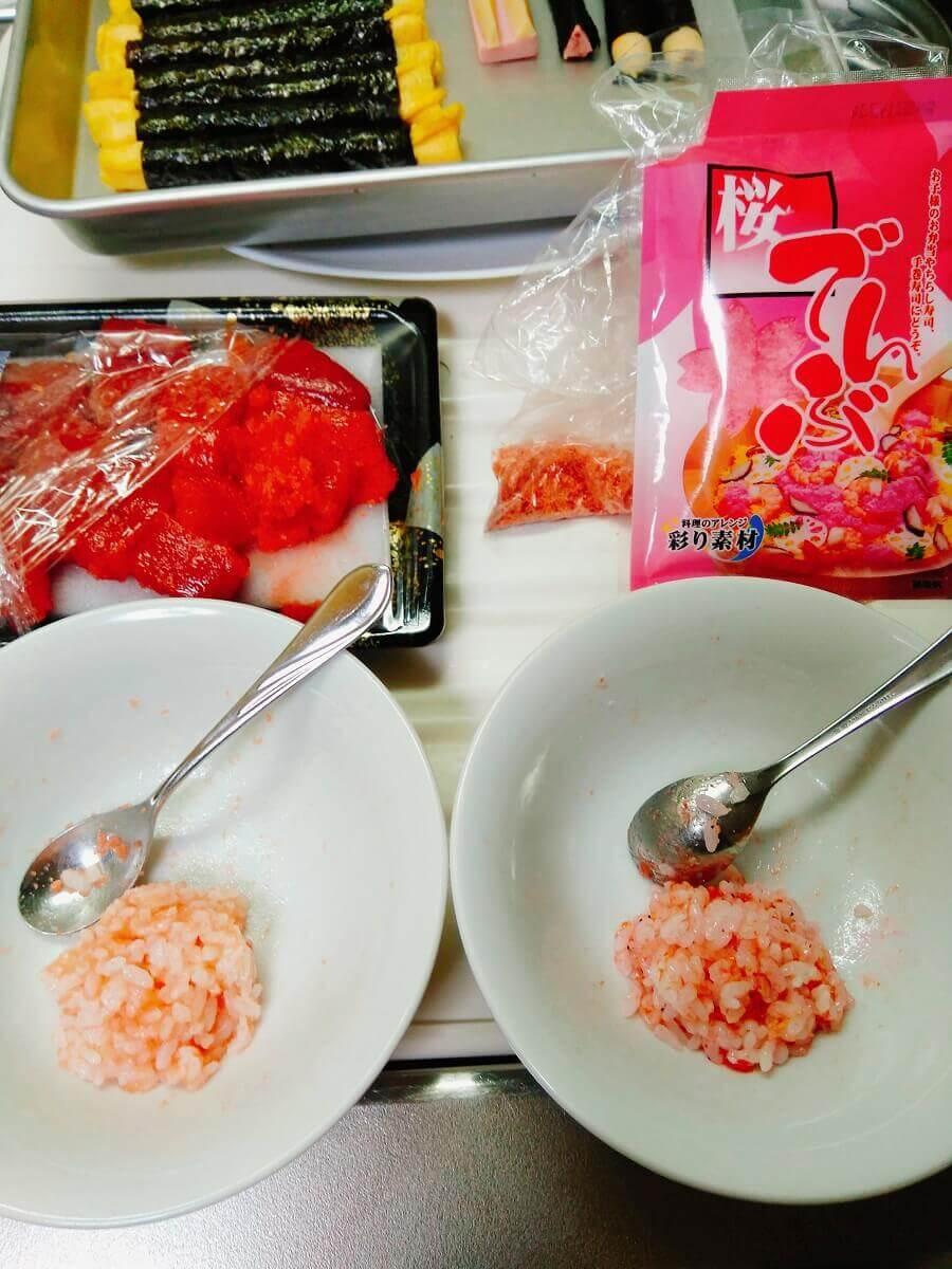 デコ巻き寿司赤鬼の顔の色