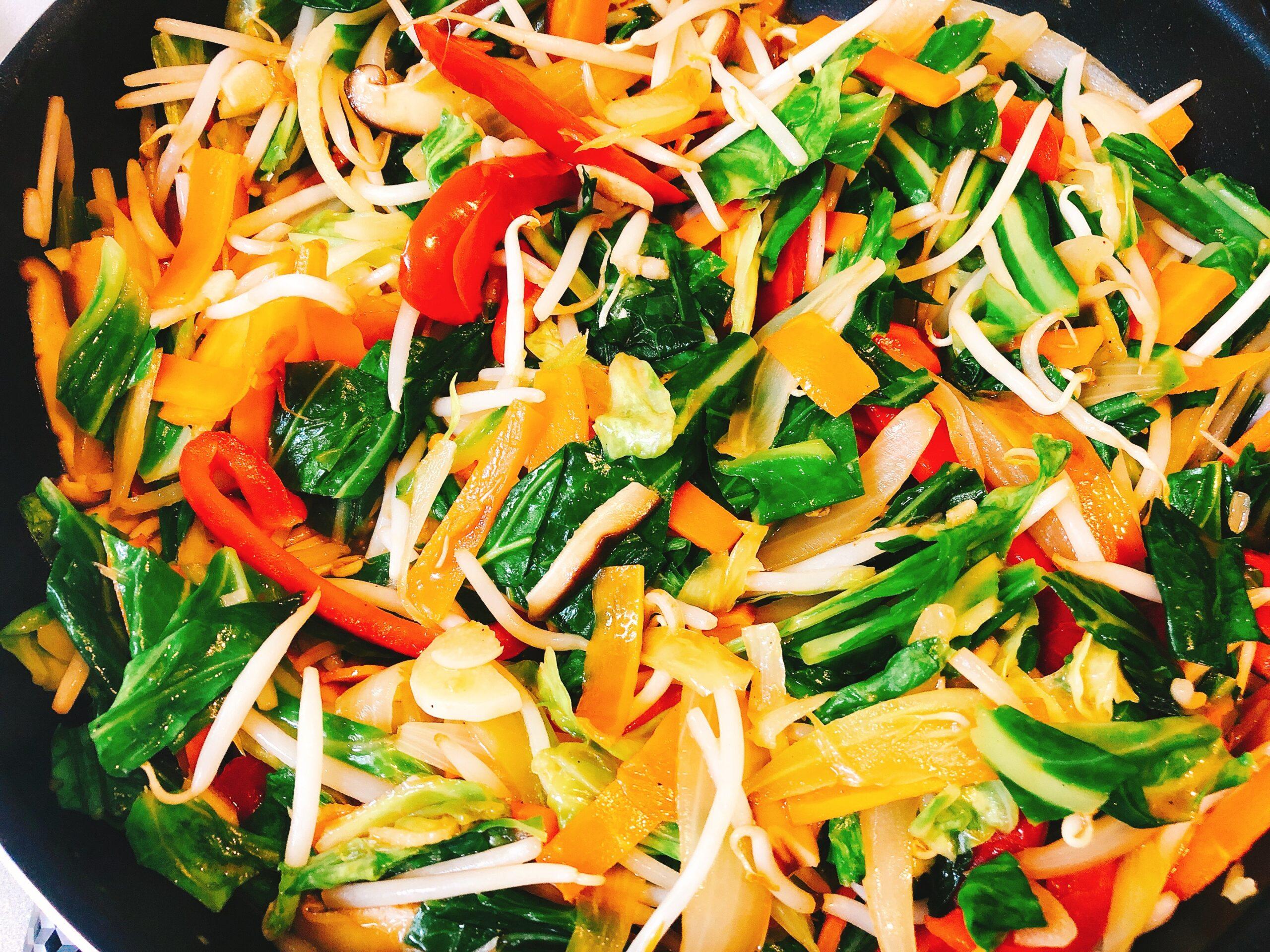 野菜ときのこのオイスターソース炒め中