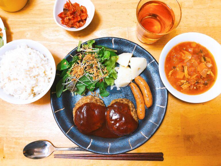 豆腐ハンバーグの夕食
