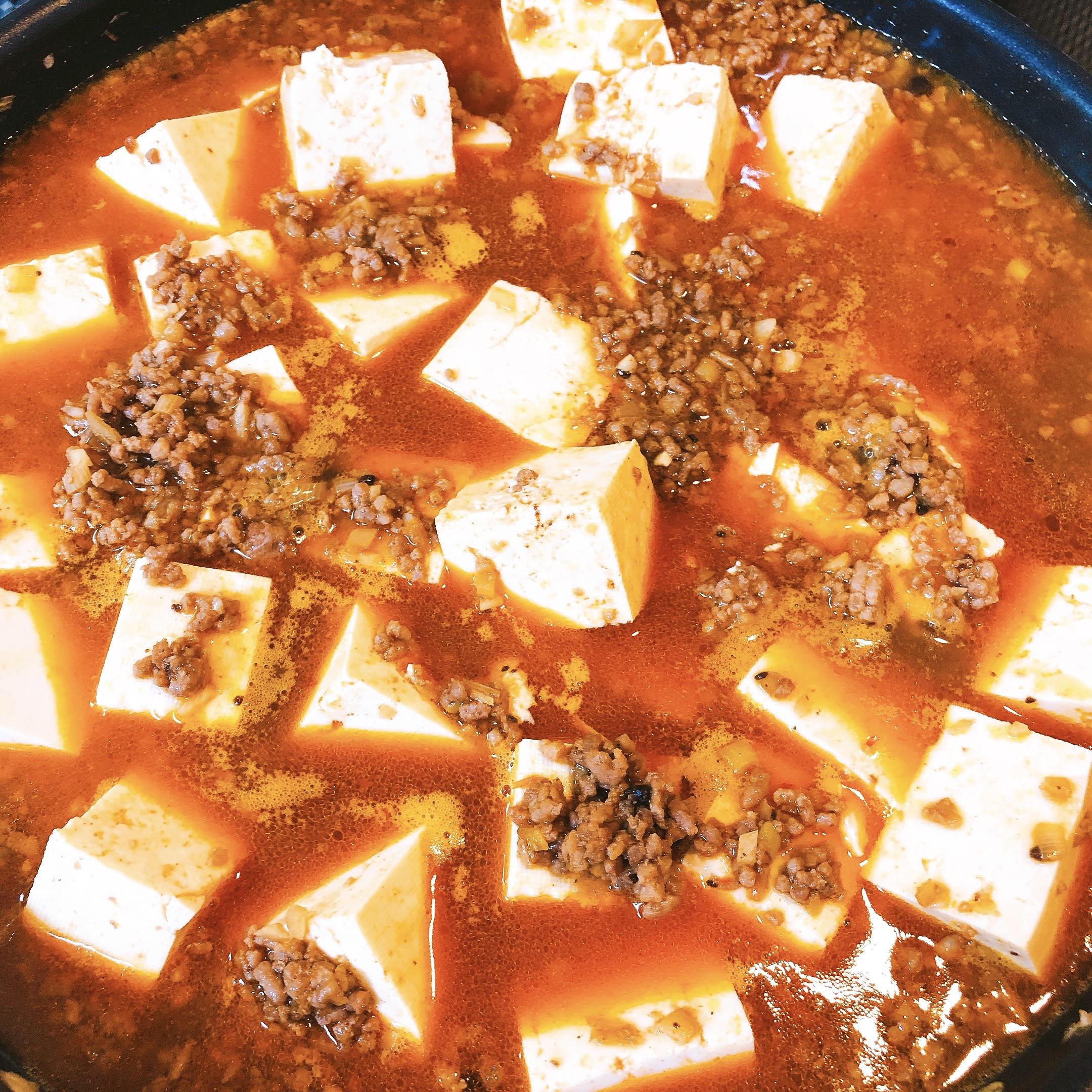 麻婆豆腐作り