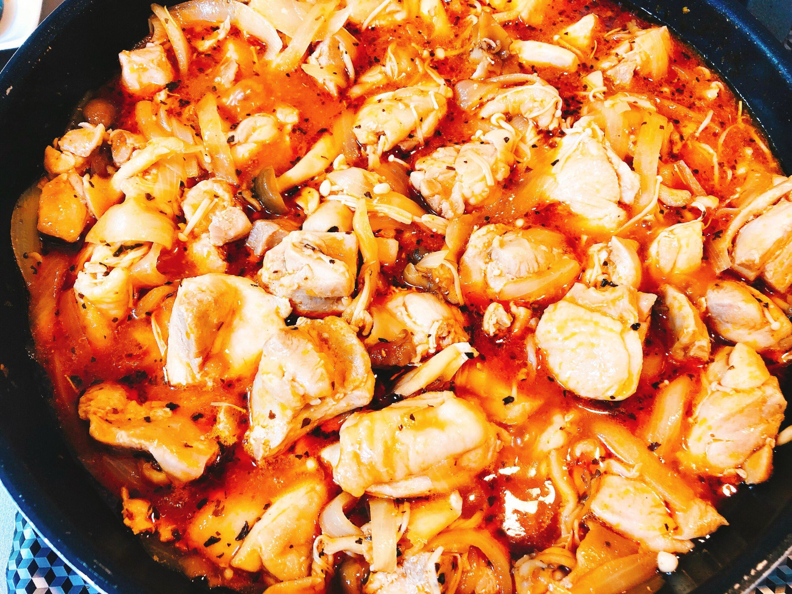 鶏肉ときのこのケチャップ煮