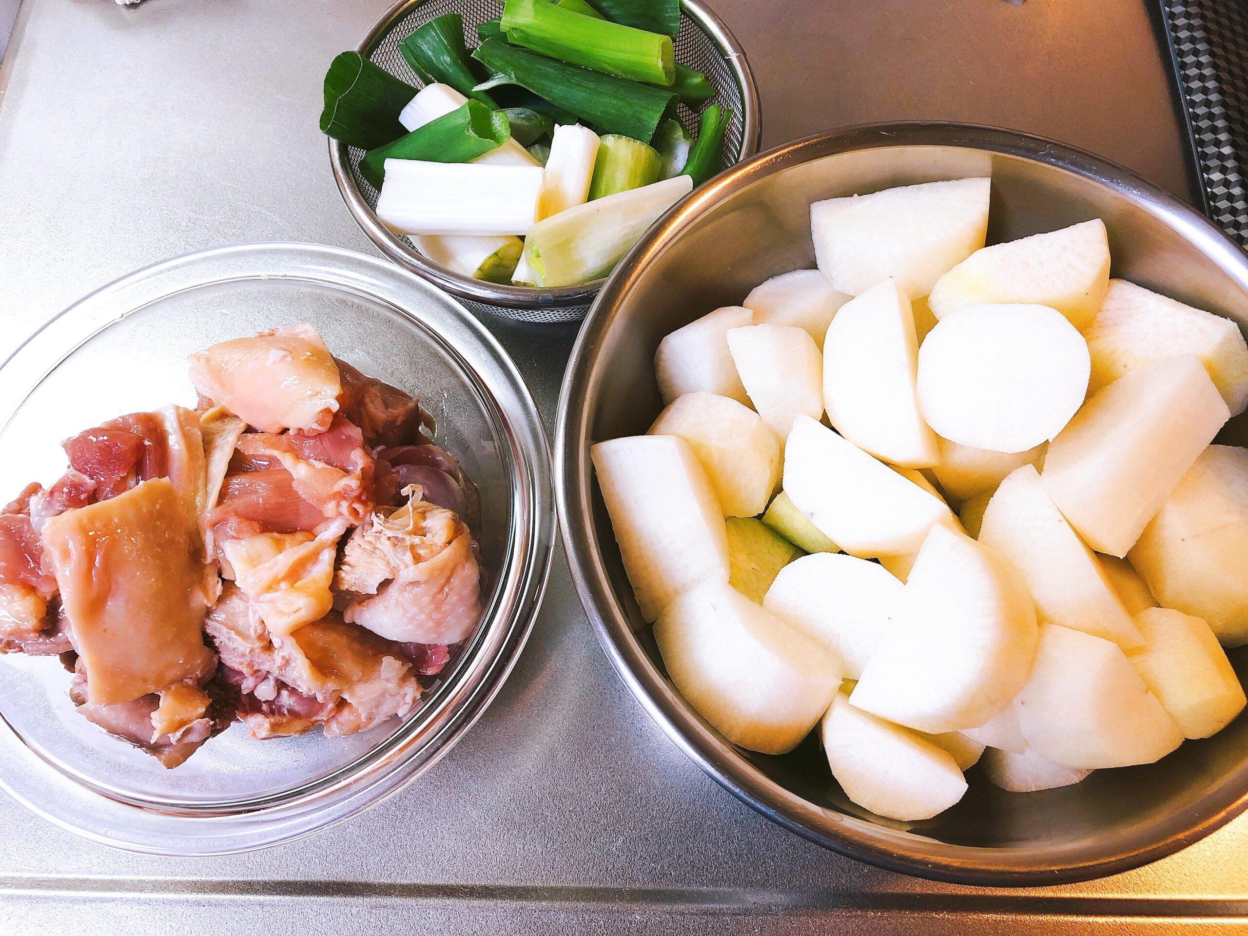 鶏肉と大根の煮物具材
