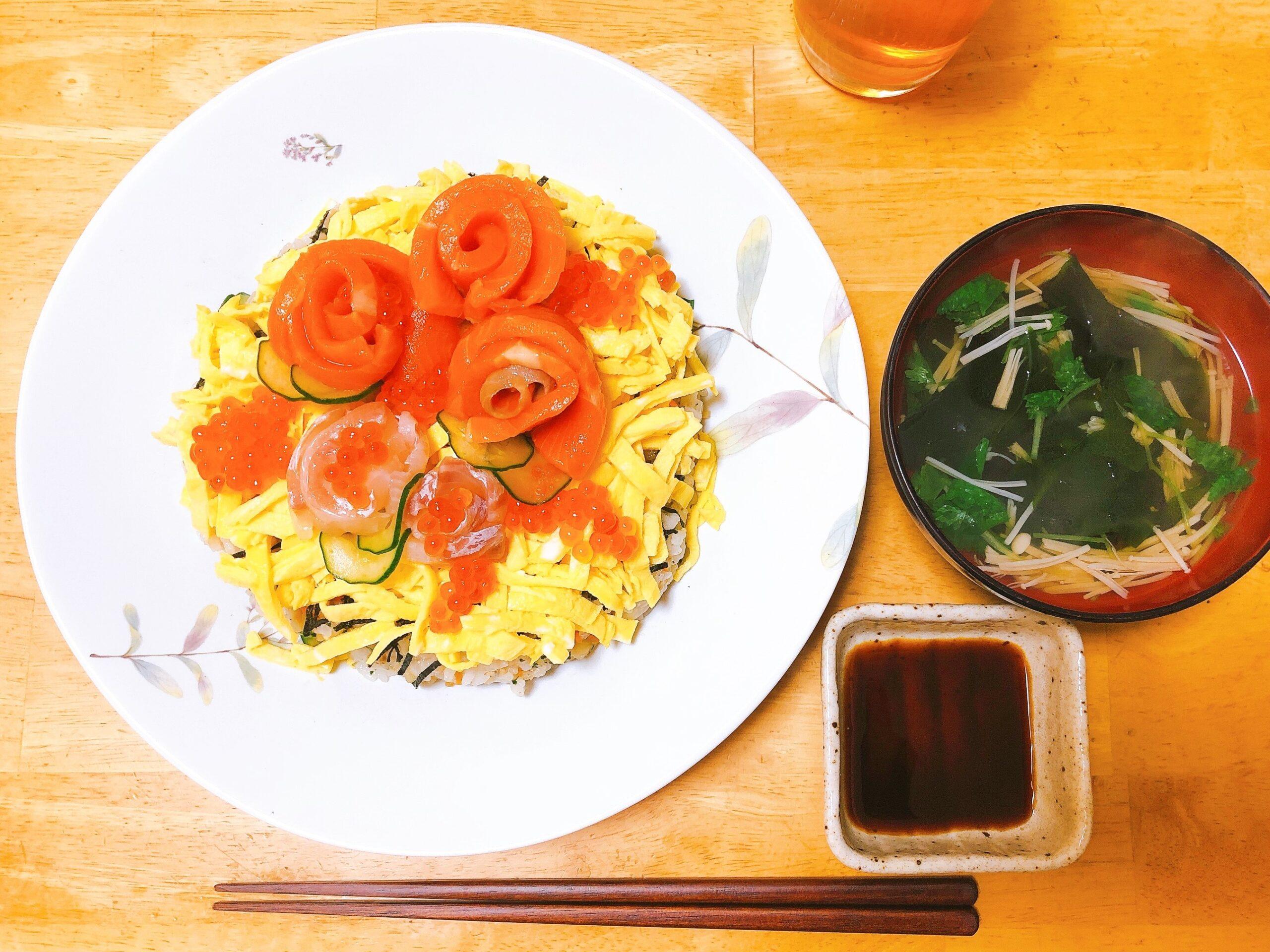 ちらし寿司の夕食