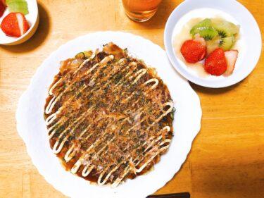 楽する夕食1週間献立、1日目。大阪名物お好み焼きをキャベツだけでふわふわにする方法。
