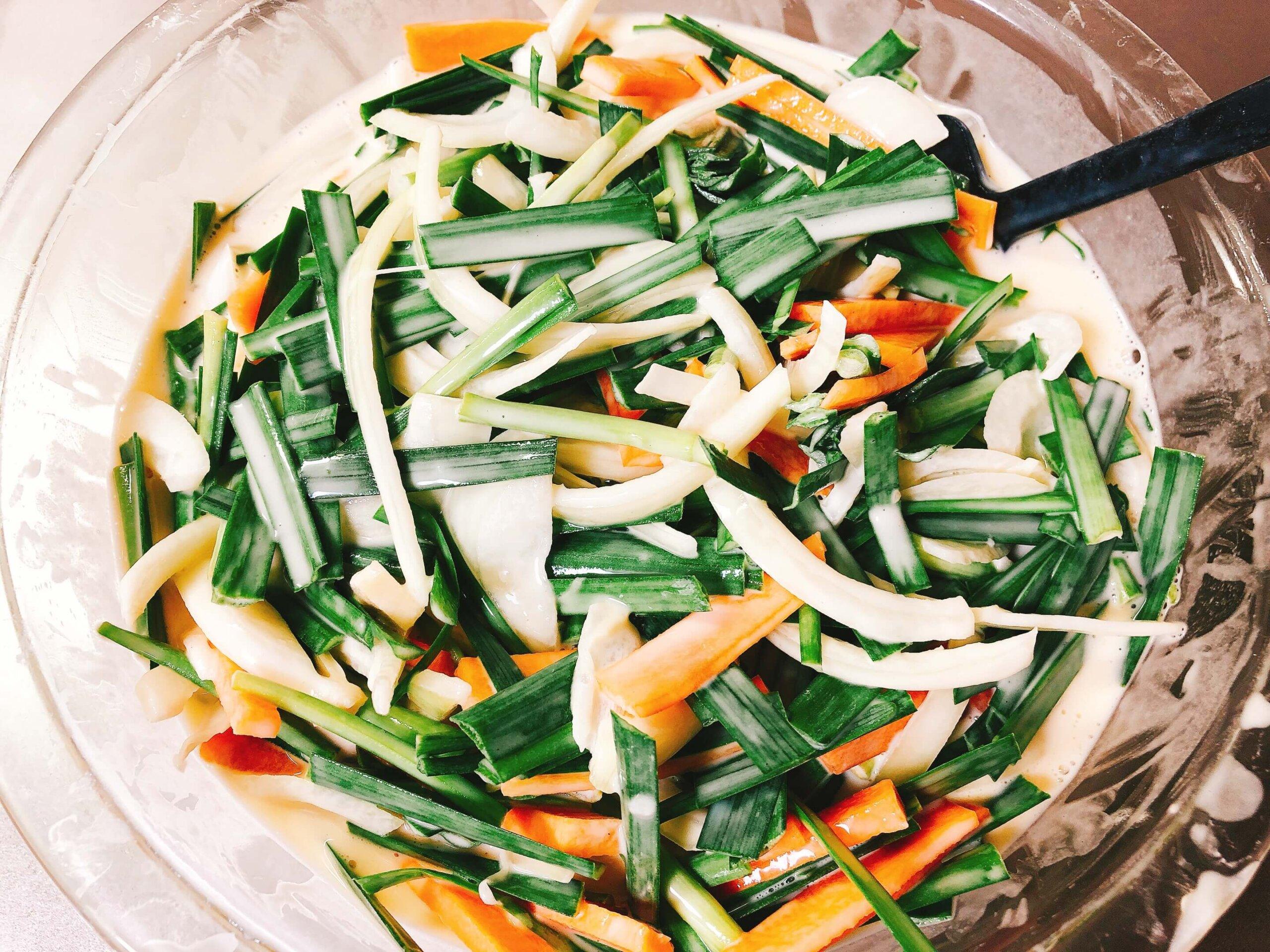 野菜チヂミ混ぜ合わせ