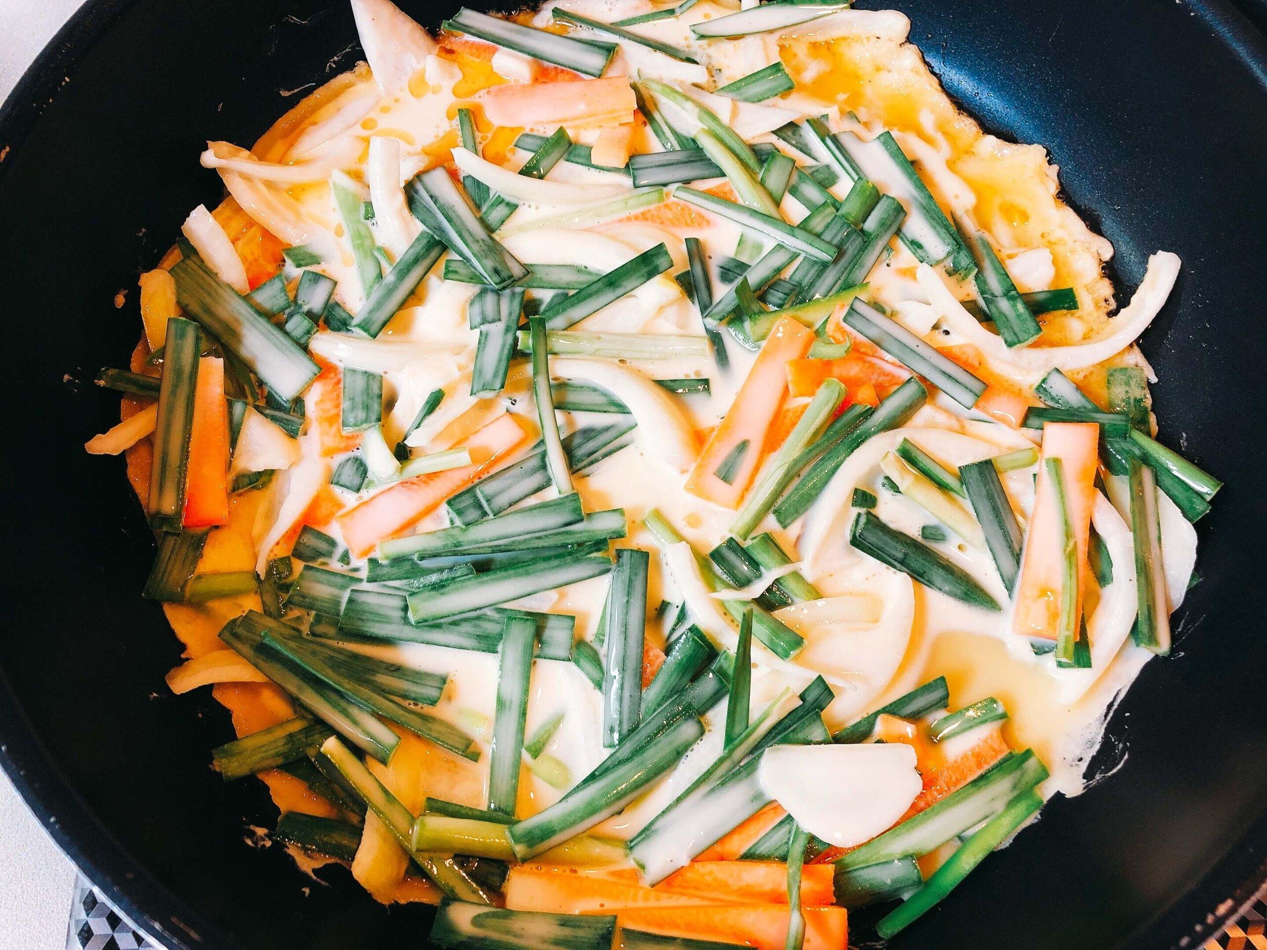 野菜チヂミ調理