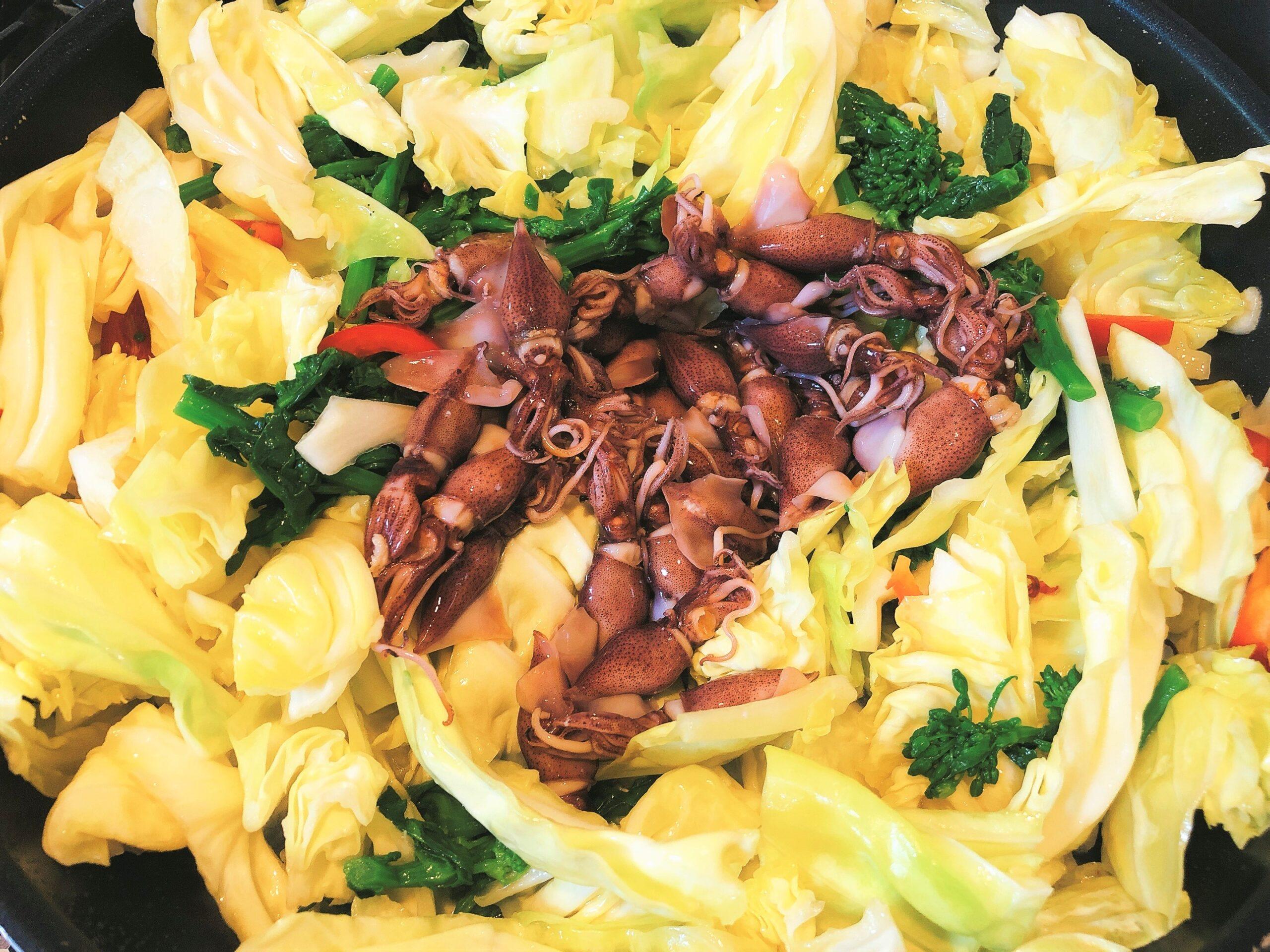 ホタルイカと菜の花調理2