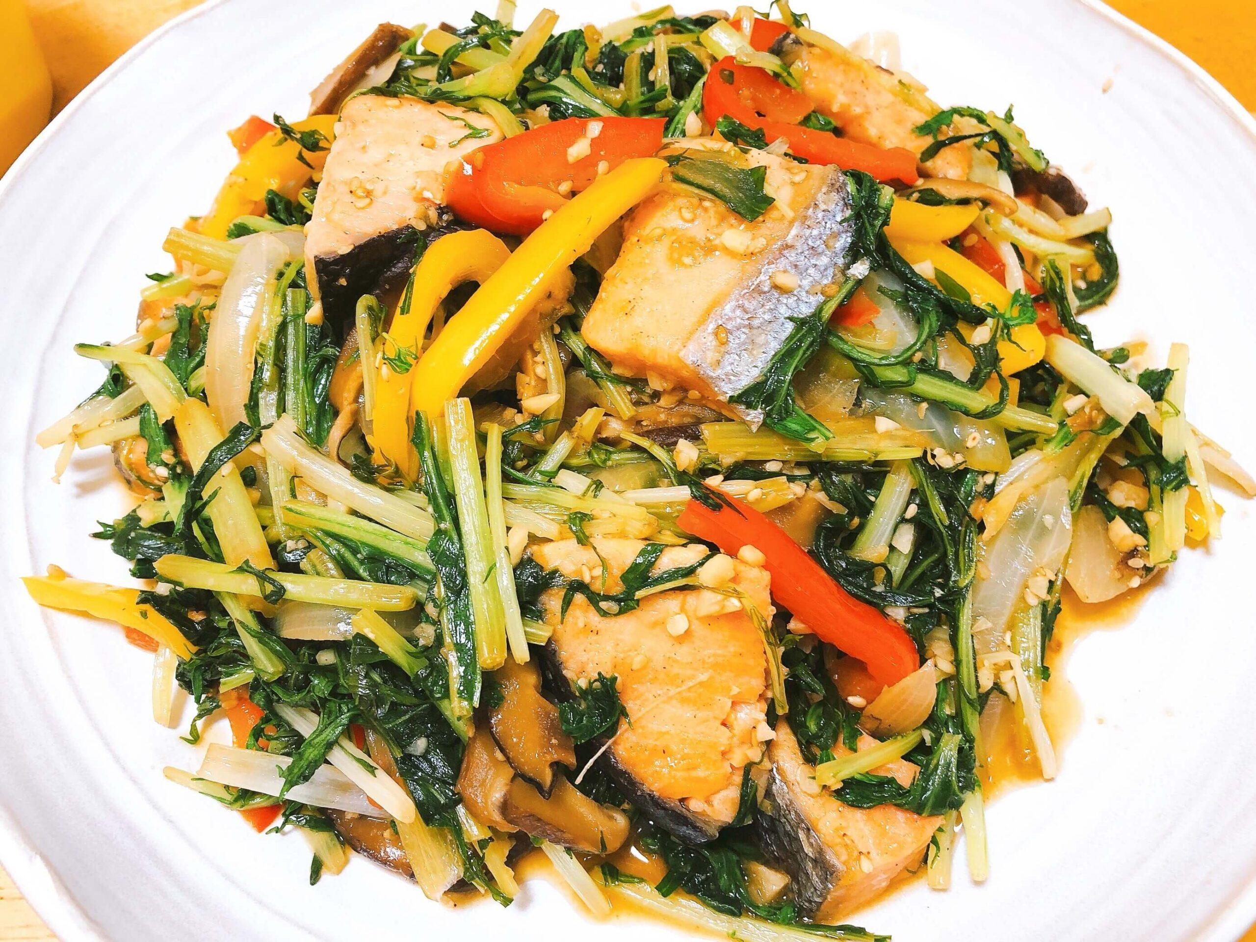 鮭と野菜のオイスター炒め完成
