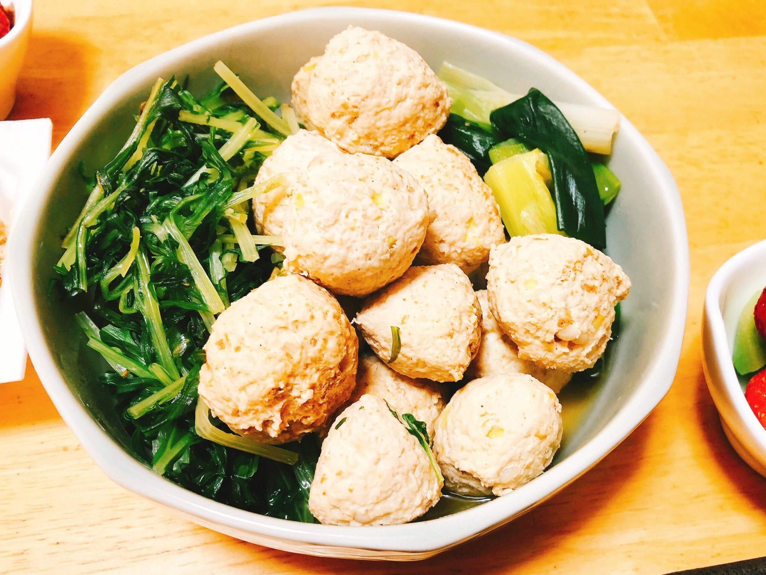 鶏団子と水菜の煮物完成