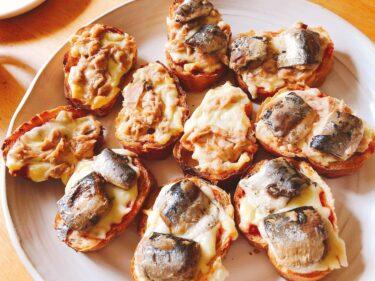 前菜・おつまみバケットピザ。簡単乗っけ焼き魚の缶詰レシピ。