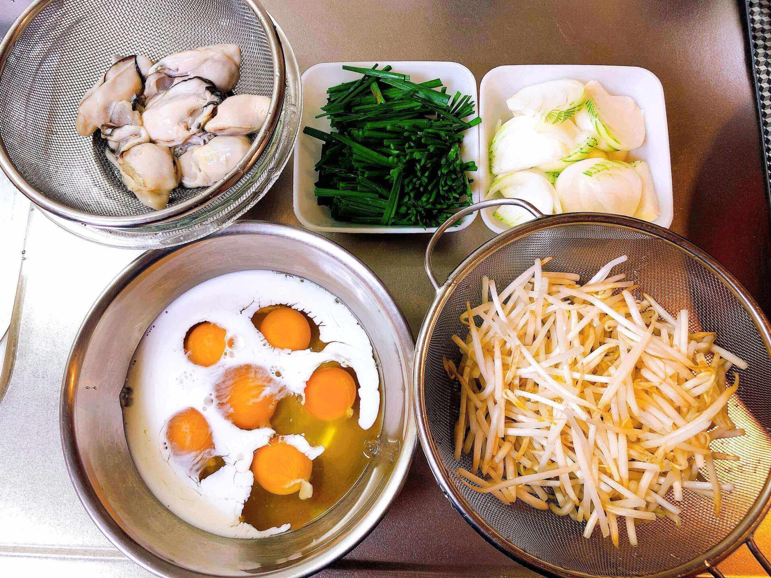 牡蠣のバインセオ風材料