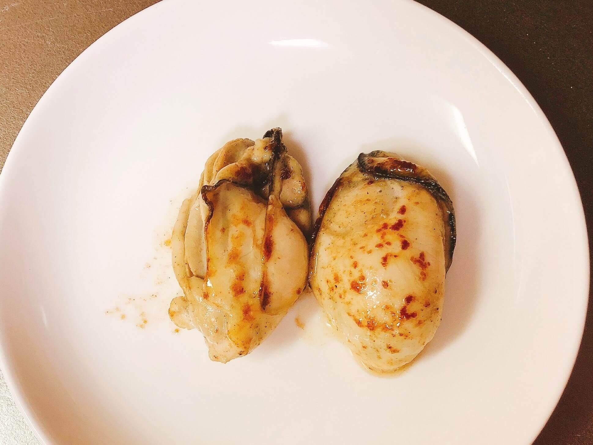 冷凍牡蠣の味見、バターソテー