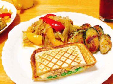 子供と二人だけの夕食は、簡単で栄養満点ワンプレートのホットサンド献立