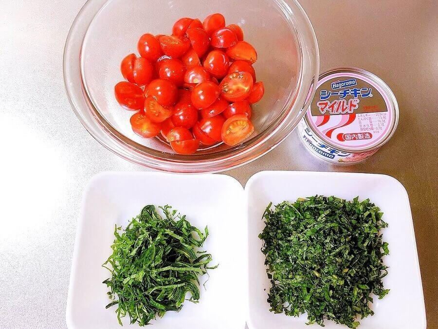 ミニトマトとツナの冷製パスタ、材料