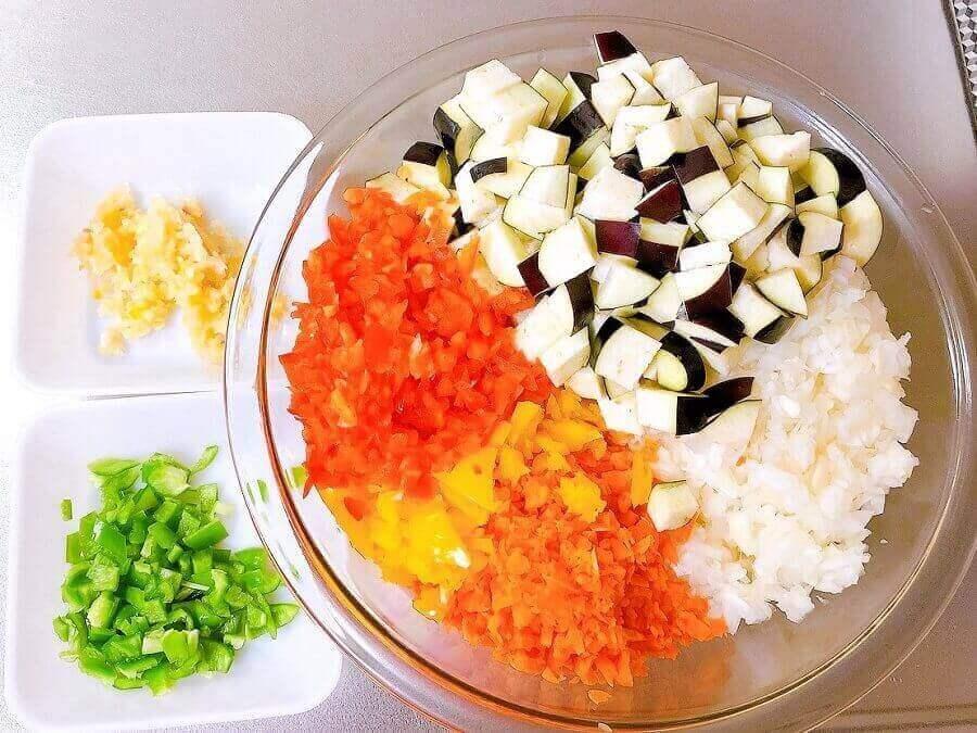 野菜たっぷりキーマカレー、具材