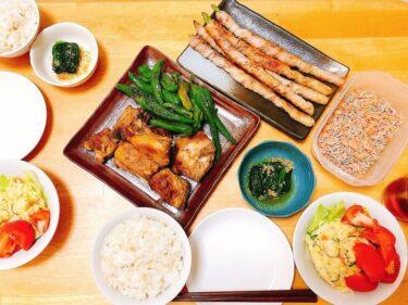 1週間献立③アスパラ豚肉巻き献立「レンチン・炒める・盛るだけ」~だけ副菜で時短夕食