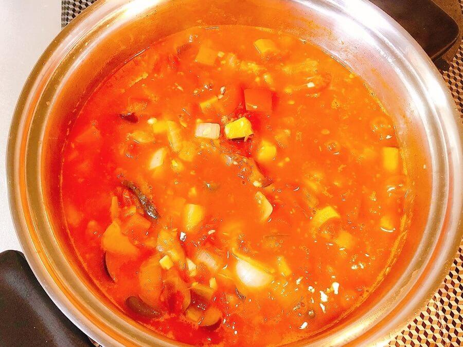 ラタトゥイユレシピ、煮込む