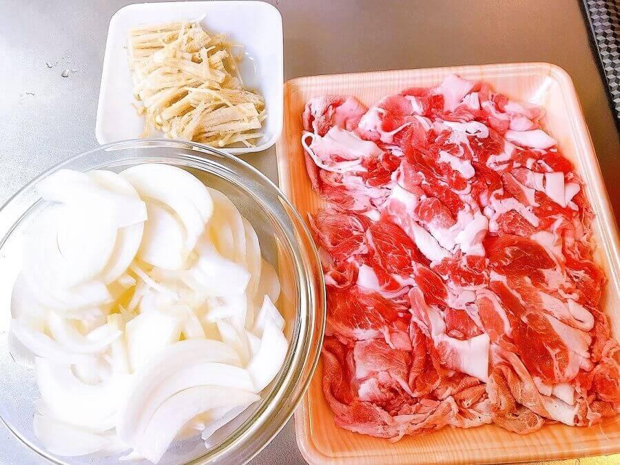 豚こま肉の生姜焼きの材料
